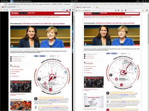 Spiegel Pressekompass 2015-10-08 - Meinungsbild über Merkels Auftritt bei Anne Will - links Chromium, rechts Firefox