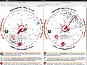 Spiegel Pressekompass 2015-10-08 - Meinungsbild über Merkels Auftritt bei Anne Will - links Chromium, rechts Firefox - auch über eine Stunde später das gleiche Bild.