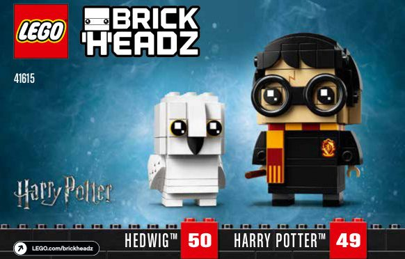 Lego #41615 – Harry & Hedwig BrickHeadz #49 & 50